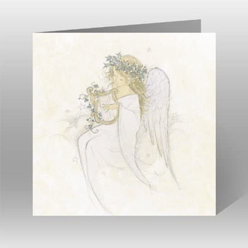 Pack of 8 Angel with Harp Design Charity Christmas Cards