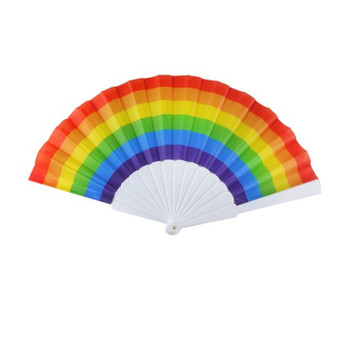 Box of 100 Pride 23cm Folding Paper Fans with Rainbow Plastic Handle