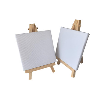 Pack of 12 Mini Easel and Canvas Sets