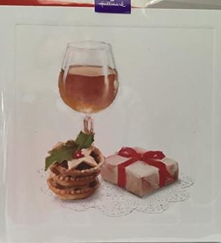 Red Wine, Pie & Gift, Blank Card by Hallmark Christmas Card