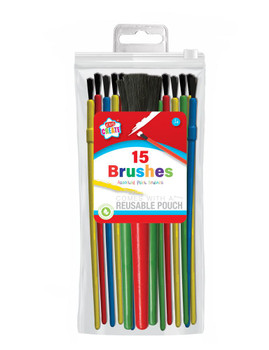 Pack of 15 Assorted Paint Brushes
