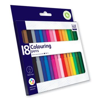 Pack of 18 Fibretips Colouring Pens