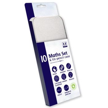 10 Piece Maths Set and Tin Pencil Case