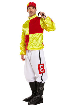 Adult Jockey Red and Yellow Fancy Dress Costume