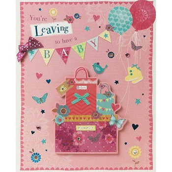 Handmade Large High Quality Boxed Card You're Leaving To Have a Baby