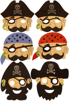 Pack of 24 Foam Pirate Masks - Pirate Theme Party Play