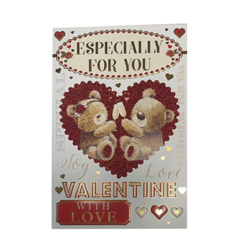 Especially For You Cheers Teddies Design Open Valentine's Day Card