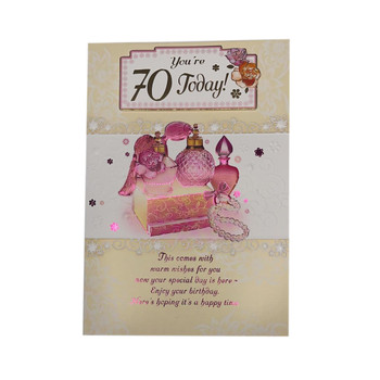 You Are 70 Today Perfumes Design Open Female Birthday Card