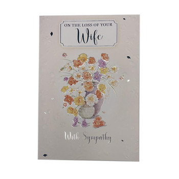 On The Loss of Your Wife Flower Pots Design Sympathy Card