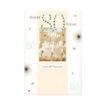 You're 80 Today Birthday Card With Nice Verse