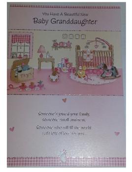 Beautiful New Baby Granddaughter Congratulations Greeting Card