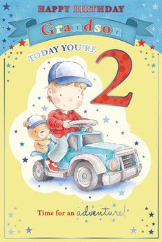 Today You're 2 Little Boy and Bear Driving Car Design Grandson Candy Club Birthday Card