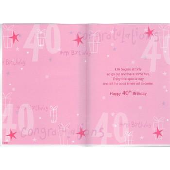 Happy 40th Birthday Nice Verse Foil Card