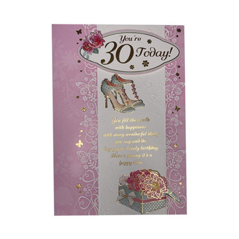 You Are 30 Today Shoes Design Open Female Birthday Card