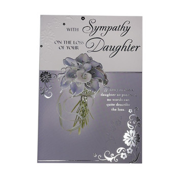 With Sympathy On Loss of Your Daughter Silver Foiled Card