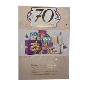Age 70 Gifts Design Unisex Open Birthday Card