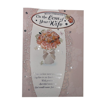 With Sympathy On Loss of Your Wife Flower Pot Design Card