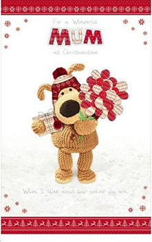 Boofle Wonderful Mum at Christmas time... Glitter Large Christmas Card