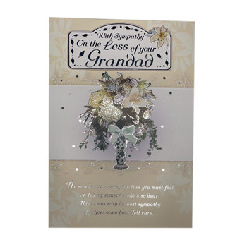 With Sympathy On The Loss of Your Grandad Lily Flower Pot Design Card