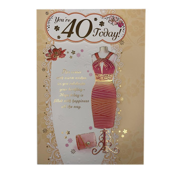 You Are 40 Today Beautiful Dress Design Open Female Birthday Card