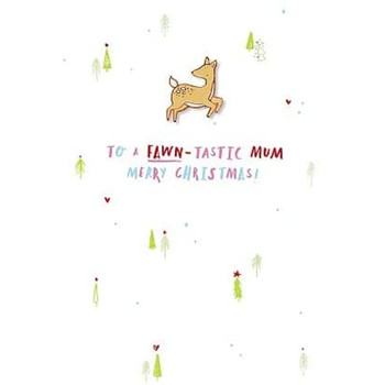 Hotch Potch Christmas Card with Enamel Pin Badge to a Fawn-Tastic Mum Merry Christmas!
