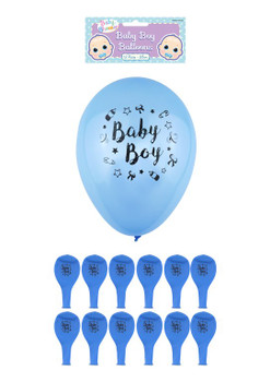 Pack of 12 Blue Baby Boy Balloons with Printed Detail 23cm