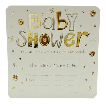Pack of 10  Jean Barrington Baby Shower Invitations - Gold & Silver