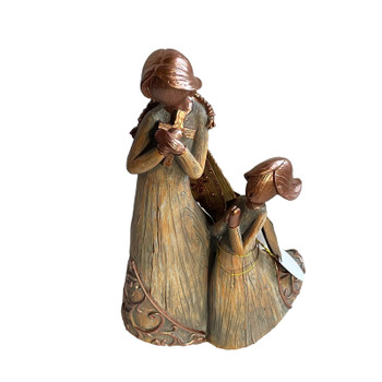 Woodland Angel Mother Holding a Cross & Daughter Figurine