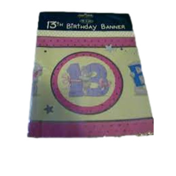 Me to You Tatty Teddy 13th Birthday Banner in Pink and Yellow