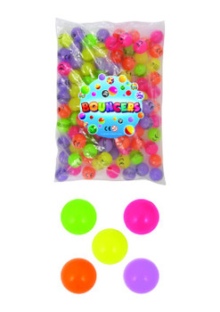 Bag of 100 Glow In The Dark Assorted Colours Bouncy Jet Balls
