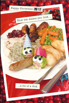 Violent Veg Brother Bit of A Dick Funny Christmas Card