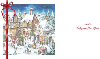 Fantastic Colourful 3D Festive Village Christmas Card