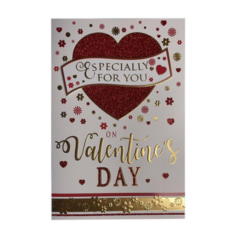 Especially For You Glitter Heart Design Open Valentine's Day Card