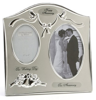'Our Anniversary' Two Tone Silverplated Wedding Anniversary Gift Photo Frame