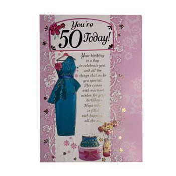 You Are 50 Today Blue Dress and Purse Design Open Female Birthday Card