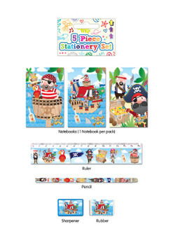5 Piece Pirate Stationery Set