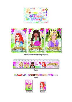 5 Piece Princess Stationery Set