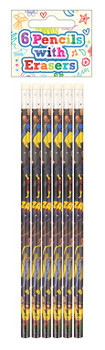 Pack of 6 Superhero Pencils with Erasers