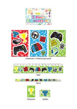 5 Piece Gamer Stationery Set