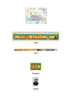 4 Piece Jungle Stationery Set