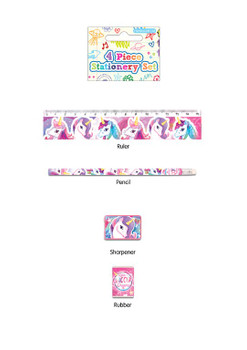 4 Piece Unicorn Stationery Set