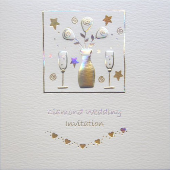 Diamond Wedding Anniversary Invitations Pack of 5