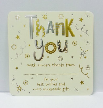 Pack of 10 Luxury Thank You Card Sheets