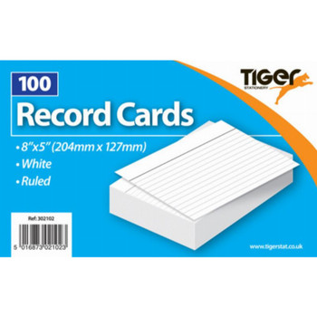 """8""""X5"""" Record Cards Ruled 100 Sheets"""