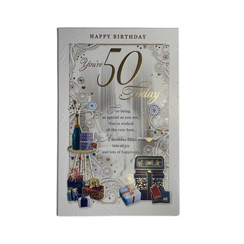 You're 50th Today Birthday Filled With Lots of Joy & Happiness Opacity Card