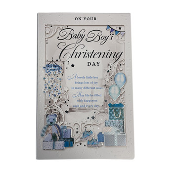 On Your Baby Boy's Christening Day Opacity Card