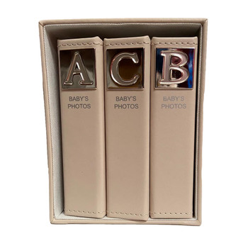 Christening Baby Shower Photo Album Cream Leather Style Silver Plated ABC Set Of 3