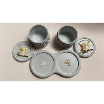 Ceramic My First Tooth and Curl Baby Owl trinket Boxes Baby Boy Christening Gift