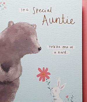Auntie Birthday Card Rabbit and Bear