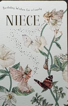 Niece Birthday Card A Beautiful Fairy On The Leaf